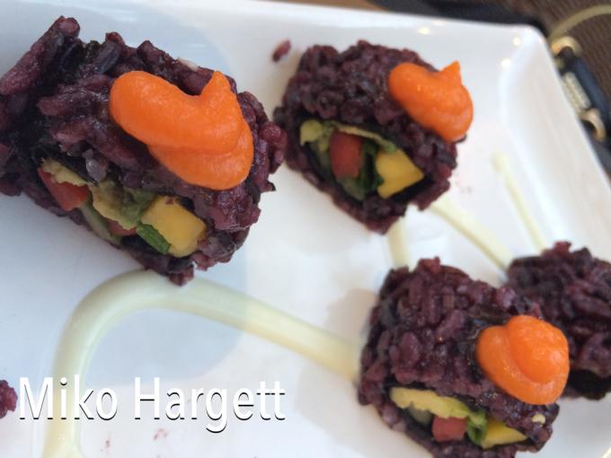 vegetarian sushi with black rice
