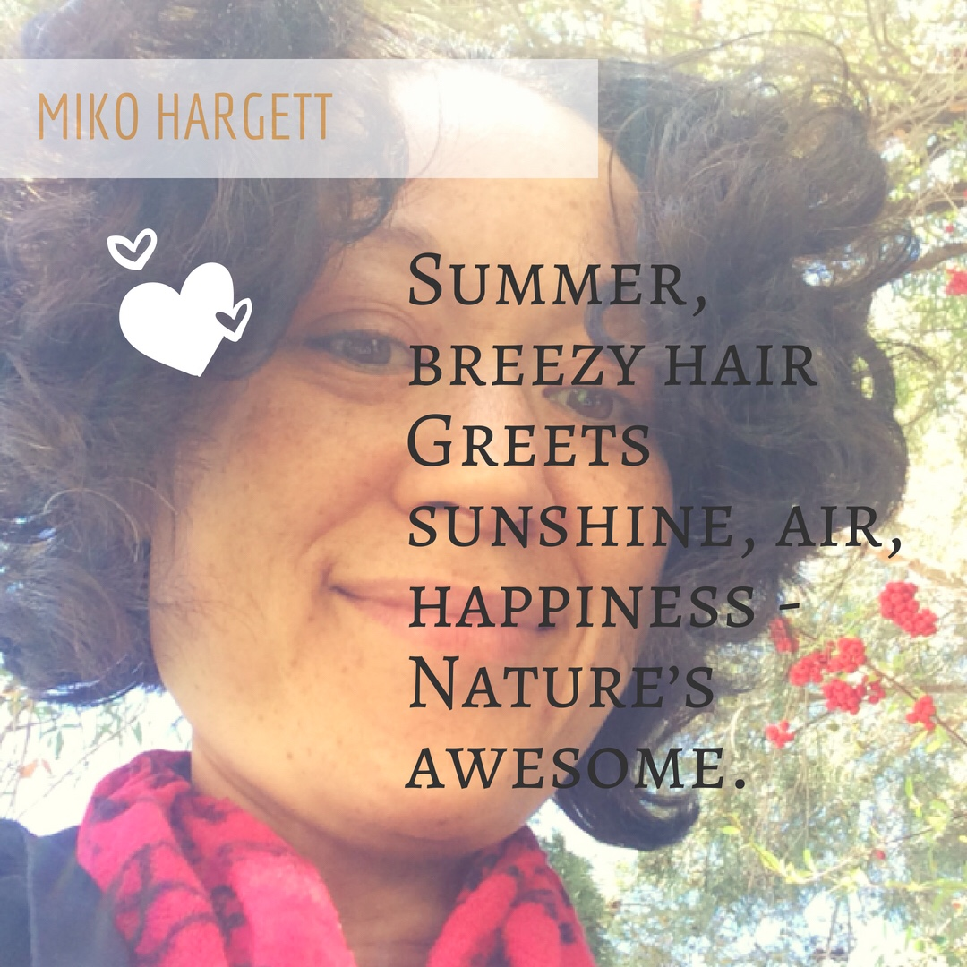 Summer breezy hair Miko selfie - cancer free