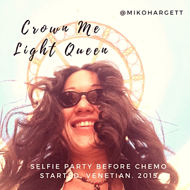 Crown me light queen selfie of Miko Hargett before chemo