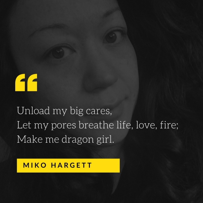 Selfie portrait of Miko Hargett with haiku - dragon girl