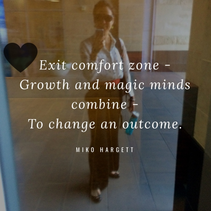 Glass reflection selfie - exit comfort zone - growth and magic minds combine to change an outcome