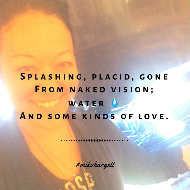 Selfie of Miko with animated wave picture at the bellagio, haiku overlay.