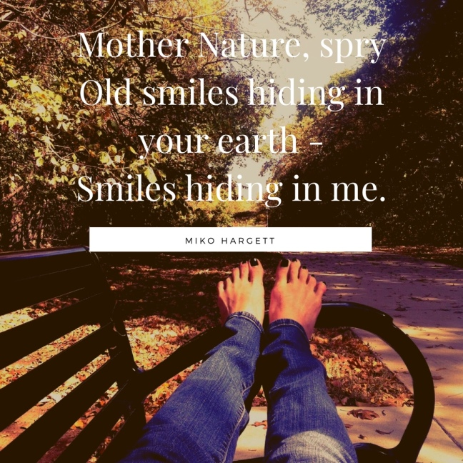 Bare feet on a bench in a park with trees, and haiku - by Miko