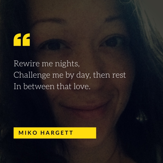 Portrait selfie of Miko Hargett closed smile with haiku overlay